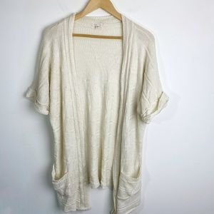 UO Silence+Noise Open Front Cardigan Ivory Size M